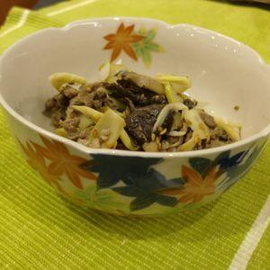 牛肉と四方竹と平茸のごま風味だしぽん酢がけ