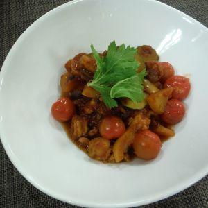 夏野菜たっぷりエビとホタテのトマトパッツア