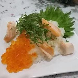 もち麦で鮭としそのちらし寿司