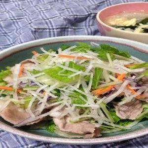 豚しゃぶサラダと春雨スープ