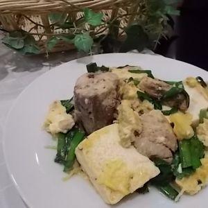 鯖缶の豆腐チャンプルー