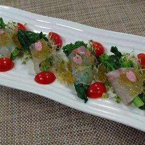 鯛と菜花の柚子胡椒ジュレのせサラダ