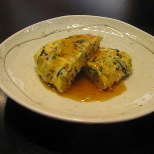 ひじき入りさつまいもと彩り野菜のあんかけ豆腐茶碗蒸し