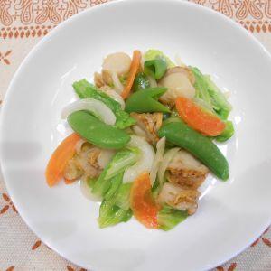 ホタテと春野菜でサッと炒め