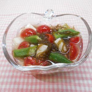 長芋トマトおくらの酢の物