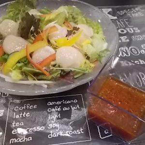 ホタテのカラフルサラダ ぶしゅかんトマトドレッシング